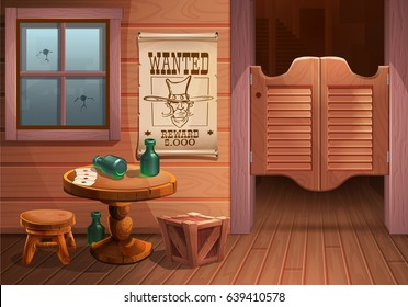 Wild west background scene - door of the saloon, table with chair and poster with cowboy face and the inscription is wanted. Vector illustration.