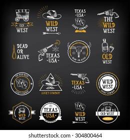 Wild west badges design. Vintage western elements.