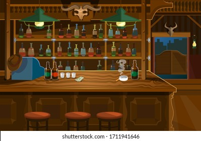 Wild west bar in wooden style with lots of alcohol vector illustration. Old tavern for relax cartoon design. Texas and american interior. Cowboy hat and bottles on table