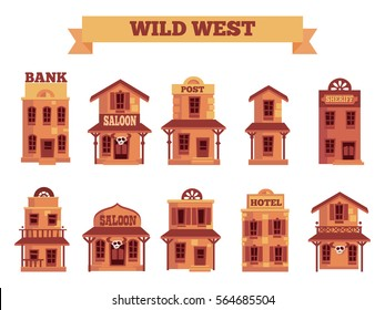 Wild West building set for game level and background in cartoon style. Flat Vector Objects isolated on white background. Vector City