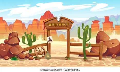 Wild west cartoon illustration with cacti, stones and mountains. Vector western illustration