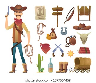 Wild west cartoon. Saloon cowboy western lasso symbols vector pictures isolated