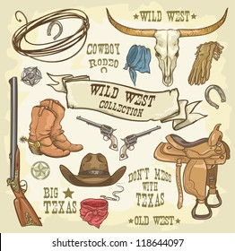 Wild West Collection, Cowboy stuff isolated.