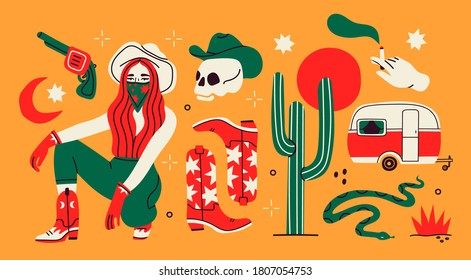 Wild West concept. Various objects. Cowboy theme. Boots, gun, cactus, snake, lady in hat, camper, skull, cigarette. Hand drawn colored Vector set. All elements are isolated