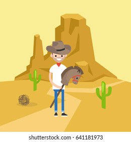 Wild west conceptual illustration. Young brunette man wearing a cowboy hat and riding a hobbyhorse / flat editable vector illustration, clip art