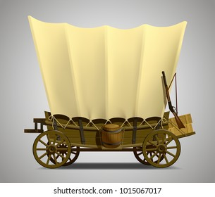 Wild West covered wagon isolated on white. Vector illustration