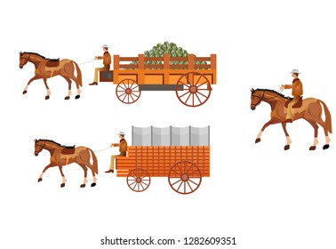 Wild West covered wagons and cowboys isolated on white. Vector illustration