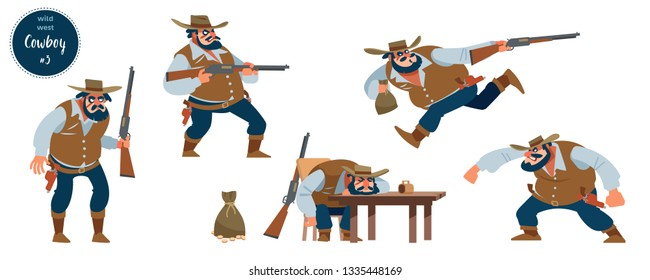 Wild west cowboy design concept with flat human character of various persons in different situations with cartoon pictograms vector illustration