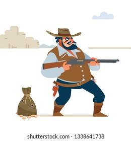 Wild west. Cowboy Gunfight. Cartoon vector illustration. Flat style. Isolated on white background.