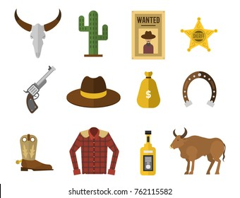 Wild west cowboy icons rodeo equipment and many different western accessories vector illustration