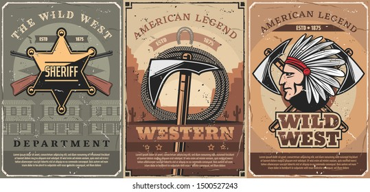 Wild west crossed guns, tomahawk and rope, native indian vector. Retro american weapon, hatchet and lasso. Sheriff star, police department and cowboy saloon, western legends and history