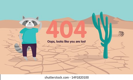 Wild West desert landscape background  with cactus and lost raccoon. 404 error not found page web design. Vector cartoon illustration