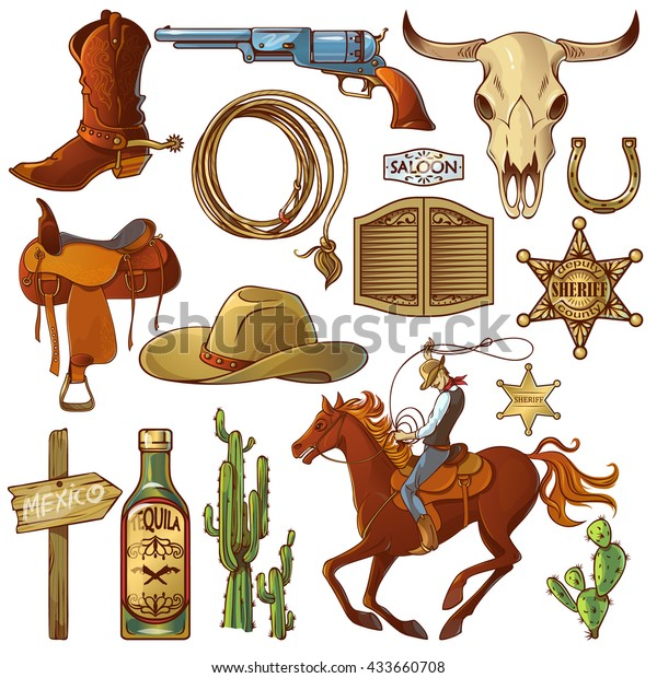 Wild west elements set with icons cowboy icons cowboys equipment and many different accessories vector illustration