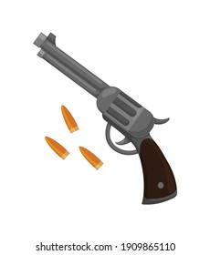 Wild west flat icon. Accessorie or object game and app ui icon. Revolver with bullets