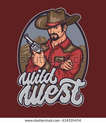 Wild West Gentleman Cowboy Vector de stock (libre de regalías ... 229d3e0857a