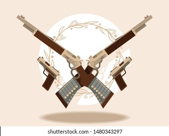 Wild west Guns and winchesters banner vector illustration. Automatic weapons, machine, pistolsrifle. Military combat firearms. Collection of hotgun and handgun. Vintage objects for shooting.