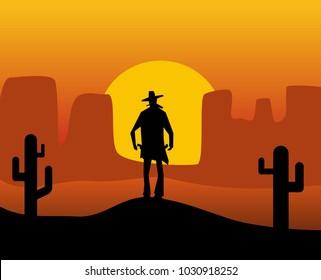 Wild west gunslinger. Background the desert. Color flat vector illustration