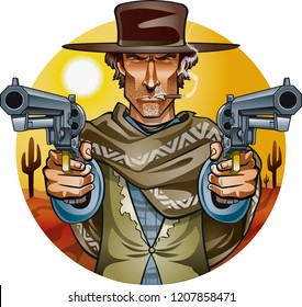 73ffb6eb05f wild west gunslinger holding two guns