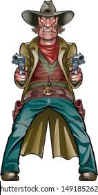wild west gunslinger holding two guns