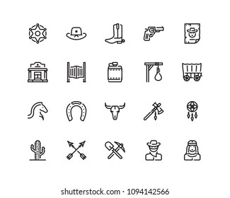 Wild west icon set, outline style