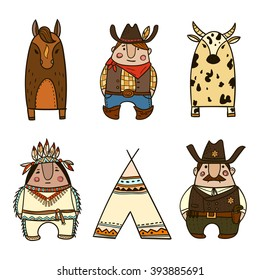Wild West icons. Collection of cute vector images. Cowboy, sheriff, cow, horse, american indian. Cartoon illustration.