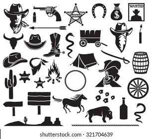 f2c36be6d26 wild west icons set (cowboy head