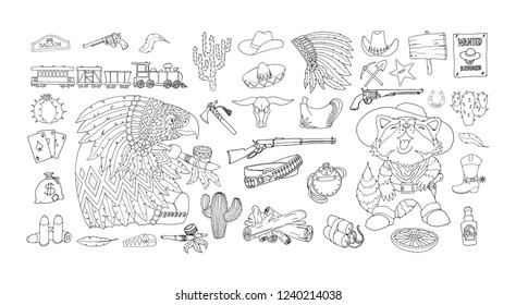 Wild West ink and pen line drawings. Cowboy accessories, linear symbols collection. Attributes of American Frontier, isolated vector illustration for design and coloring books.