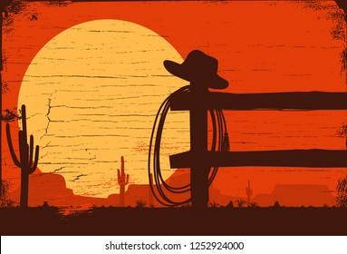 Wild west landscape background, Vector Illustration