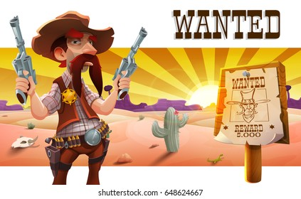 Wild west landscape with cool cowboy, desert at sunset, cactus, mountains and western poster with cowboy face and the inscription is wanted. Vector illustration.