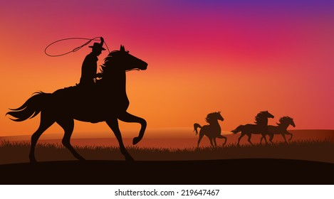 wild west landscape - cowboy chasing the herd of wild mustang horses at sunset - vector scene