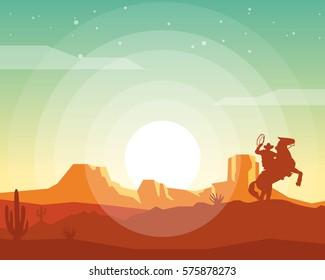Wild west landscape. Western scene