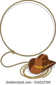 wild west lasso and cowboy hat