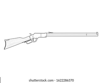 Wild west lever action rifle. Vector illustration.