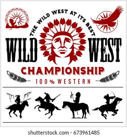 Wild West. Native american chief head illustration. Design elements for logo, label, emblem,sign. Vector illustration