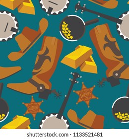 Wild west objects for gold rush or cowboy in seamless pattern on blue background. Flat wrangler boots, gold bar, puncher hat, banjo.