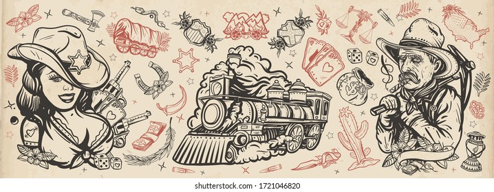 Wild West. Old school tattoo vector collection Cowboy girl, digger, steam train, golden horseshoe, USA map. Western concept. American history. Traditional tattooing style