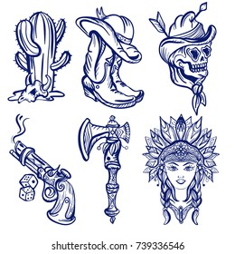 Wild west old school tattoo sketch. Fashionable western set. Cowboy, cactus, indian woman, guns. Classic flash tattoo style, patches and stickers vector