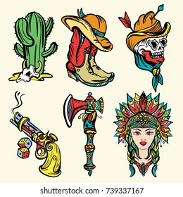 Wild west old school tattoo vector. Fashionable western set. Cowboy, cactus, indian woman, guns. Classic flash tattoo style, patches and stickers set