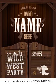 wild west party entrance vertical poster