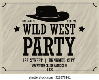 wild west party white horizontal poster with cowboy hat