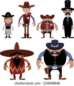 Wild west People cartoon Special Characters vector illustrations