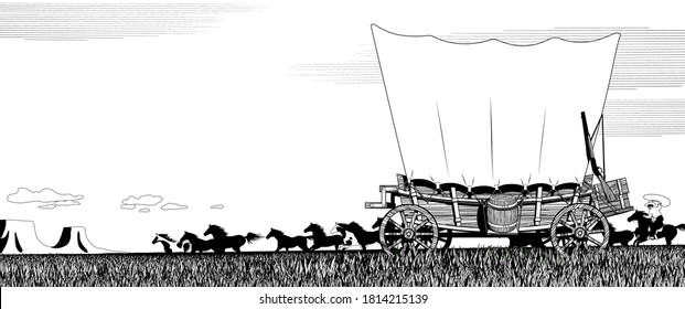 Wild West prairie landscape with covered wagon and flock of horses. Linear black and white drawing for coloring book. Vector illustration