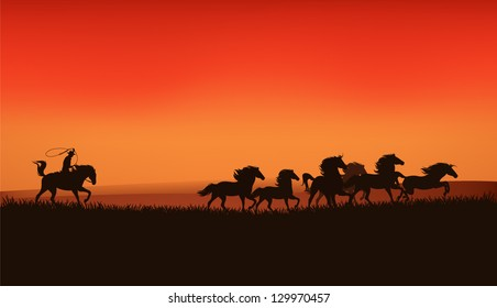 wild west prairie landscape - cowboy chasing the herd of mustang horses at the sunset - vector illustration