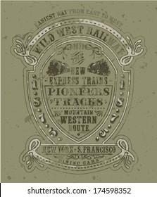 Wild west railway - Vector print for boys, men wear, vintage artwork in custom colors, grunge effect in separate layers.