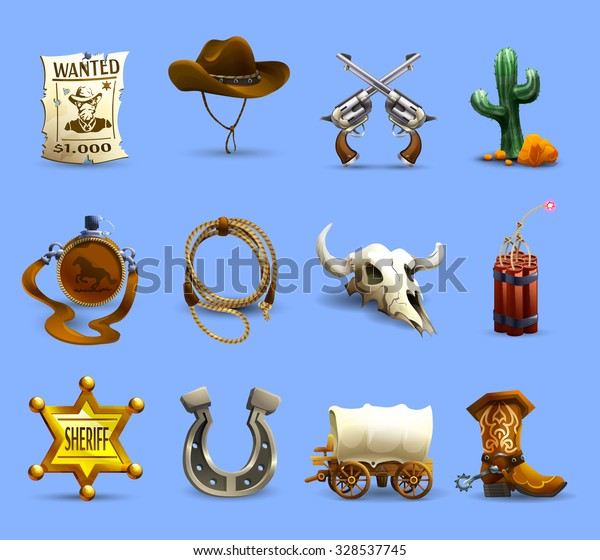 Wild west realistic icons set with cowboy hat dynamite and cactus on blue background isolated vector illustration