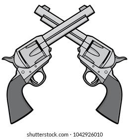 Wild West Revolvers Illustration - A vector cartoon illustration of a pair of Wild West Revolvers.