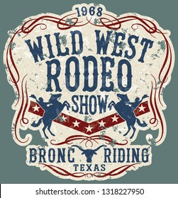 Wild west rodeo horse show  vintage vector artwork for boy wear, grunge effect in separate layers