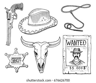Wild west, rodeo show, cowboy or indians with lasso. hat and gun, cactus with horseshoe, sheriff star and bison, bull skull and wanted poster. engraved hand drawn in old sketch and vintage style.