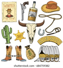 Wild west, rodeo show, cowboy or indians with lasso. hat and gun, cactus with sheriff star and bison, boot with horseshoe and wanted poster. engraved hand drawn in old sketch or and vintage style.