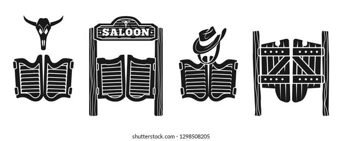 Wild west saloon doors icons set. Simple set of wild west saloon doors vector icons for web design on white background